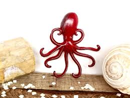 red octopus hook nautical decor red bathroom decor beach