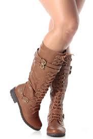 s boots calf length cognac faux leather calf length lace up combat boots cicihot