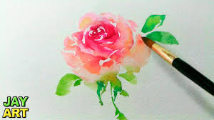 how to paint a pink rose in watercolor jay art youtube