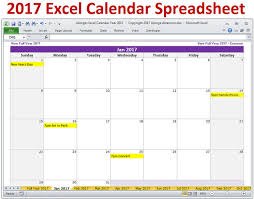 Excel Calendar Template 2017 Excel Calendar Template 2017 Monthly Calendar And 2017