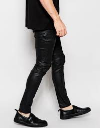 Ripped Knee Jeans Mens Dark Future Super Skinny Jeans In Black With Resin Coating In