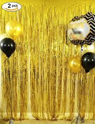 halloween bday party background amazon com langxun 3 ft x 8 ft gold foil fringe curtains photo