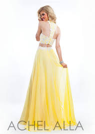 straps sweetheart two piece yellow white lace applique beaded prom