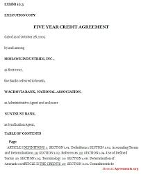 five year credit agreement sample five year credit agreement