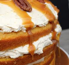 pumpkin layer cake with fluffy cream cheese filling and caramel
