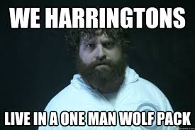 Lone Wolf Meme - we harringtons live in a one man wolf pack lone wolf