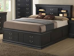 Bed With Storage In Headboard Remarkable Queen Storage Bed With Bookcase Headboard Headboard