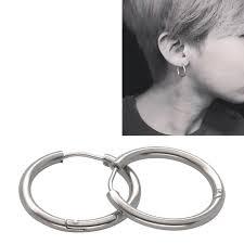 cool earrings women men unisex silver stainless steel small hoop sleeper