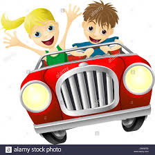 cartoon convertible car cartoon young man and woman having fun driving a red convertible car