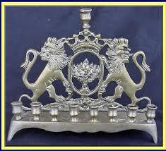 antique menorah brass hanukah lamp chanukia w lions menorah for sale antiques