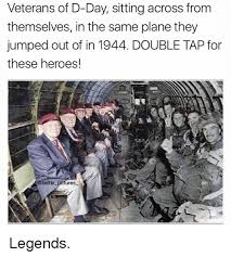 D Day Meme - veterans of d day sittingacross from themselves in the same plane