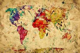 Old World Map Vintage World Map Colorful Paint Watercolor Retro Style