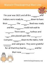 thanksgiving mad lib by the hippie teachers pay teachers