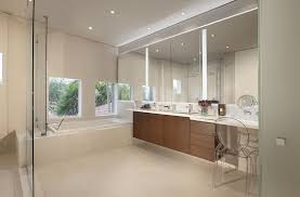 large bathroom space with cool three panels wall mirror design