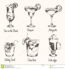 vintage cocktail set drawn cocktail vintage cocktail pencil and in color drawn