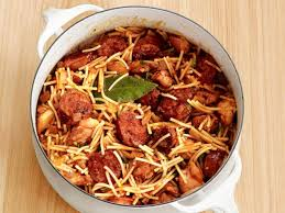 style noodles with chicken and sausage recipe food