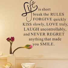 life is short words removable wall sticker murals home room decor 690155178039
