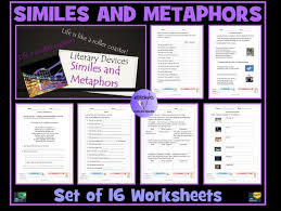 similes and metaphors set of 16 worksheets by krazikas