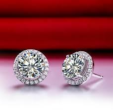 diamond stud earrings for women 0 5ct solid 750 white gold earrings synthetic diamonds