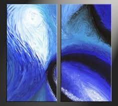 2 piece blue abstract oil paintings group canvas
