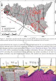 Sicily Italy Map Contour Map Of The Top Of The Regional Geothermal Reservoir Of