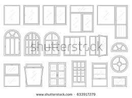 Different Windows Designs Handdrawn Seamless Monochrome Pattern Different Windows Stock