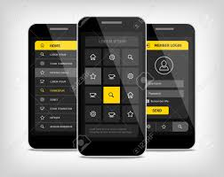 mobile phones with user interface design template realistic