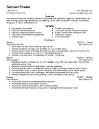 Job Getting Resumes by Best Fast Food Server Resume Example Livecareer