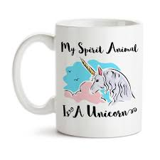 coffee mug my spirit animal is a pink blue believe in