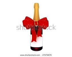 wine bottle bow chagne wine bottle bow blank label stock illustration 27079879