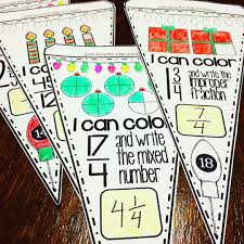 students convert improper fractions to mixed numbers and mixed