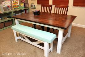Building A Farmhouse Dining Table Diy Farmhouse Table Bench Happiness Is