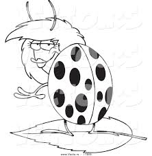 vector of a cartoon flirty ladybug outlined coloring page by
