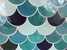 Teal Tile Backsplash by Handmade Large Fish Scale Tiles Mercury Mosaics Workshop Cool