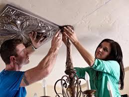 install tin ceiling tiles hgtv