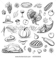 collection drawing elements traditional thanksgiving day stock
