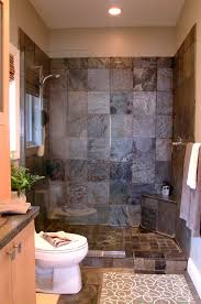 modern bathroom design ideas with walk in shower corner bench