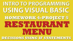 4 pp5 visual basic restaurant menu if statements youtube