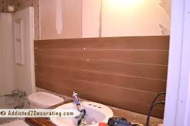 bathroom makeover day 7 u2013 faux wood plank walls part 1