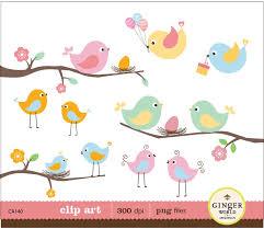 bird baby shower birds eggs nest clipart digital file illustration for
