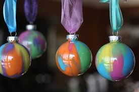 pour painted ornaments with glass or plastic balls