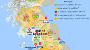 estate map uk map of where to live to avoid nuclear impact zone draws backlash