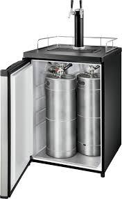 Pony Keg Kegerator Insignia 5 6 Cu Ft 2 Tap Beverage Cooler Kegerator Silver Ns