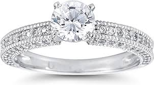 milgrain engagement ring three sided pave engagement ring w milgrain us3032