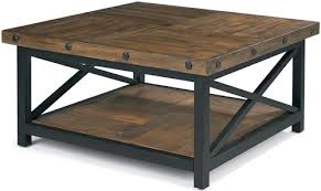 wood plank coffee table flexsteel carpenter square cocktail table with metal base and wood