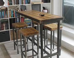 Breakfast Bar Table And Stools Handmade Bespoke Modern Industrial Narrow Bar Table And