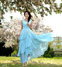 light blue maxi dress sleeveless 2 tiered holiday summer dresses