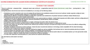 Certification Of Employment Letter Exle System Administrator Leader Work Experience Certificate