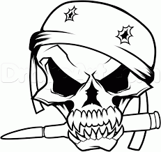 drawn skull military pencil and in color drawn skull military