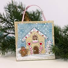 gingerbread house canvas ornament project by decoart